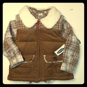 Adorable NWT boys 12-18mo 2 PC Coat Vest Set
